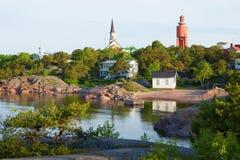 6月太阳早晨在汉科 芬兰 免版税库存照片