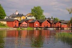 6月太阳晚上在老波尔沃 芬兰 库存图片