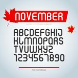 11月字体、套风格化字母表信件和数字 规则字体类型 时髦的字体设计 皇族释放例证