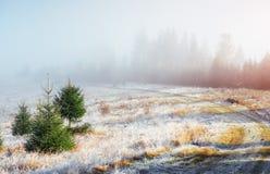 10月山脉在第一个冬日 免版税库存图片