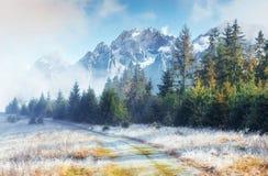 10月山脉在第一个冬日 库存照片