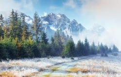 10月山脉在第一个冬日 免版税图库摄影