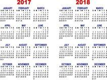 月度日历在2017年和2018年 免版税库存照片