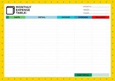 月度费用桌 库存例证