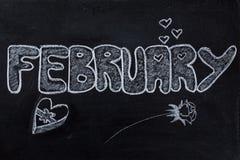 2月手写在黑板 免版税库存照片