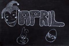 4月手写在黑板 免版税库存照片