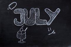 7月手写在黑板 免版税库存图片