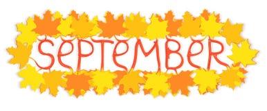 9月文本和槭树叶子 免版税库存照片