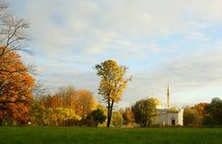 10月早晨在凯瑟琳公园在Tsarskoe Selo 图库摄影