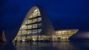 1月晚上在以盖达尔・阿利耶夫命名的中心 巴库,阿塞拜疆 股票录像