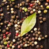 月桂树在木桌留下混合四胡椒 免版税库存照片