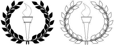 月桂树奥林匹克火炬花圈 向量例证
