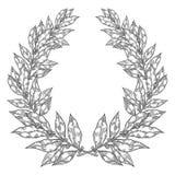 月桂树海湾白色黑叶子手拉的传染媒介例证 葡萄酒装饰月桂树花圈 免版税库存照片