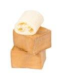 月桂树lufah用肥皂擦洗传统的海绵 免版税库存照片