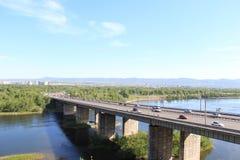 10月桥梁 krasnoyarsk 库存照片