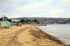 10月海滩, Swanage,多西特 免版税库存图片
