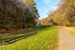 11月的城市公园与长木凳 库存照片