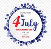 7月的4日与圆的横幅五彩纸屑的美国人美国独立日 库存照片