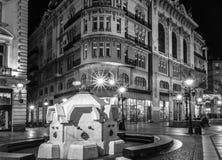 11月的Knez Mihailova街在贝尔格莱德,塞尔维亚 黑色和 库存图片