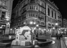 11月的Knez Mihailova街在贝尔格莱德,塞尔维亚 黑色和 免版税库存照片