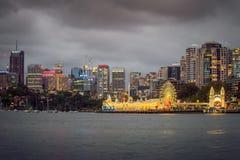 月神公园夜视图在悉尼 免版税库存照片