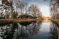 11月神秘的湖在城市公园 免版税库存照片