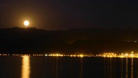 满月缅甸塔shwedagon仰光 约旦的看法在晚上 免版税库存图片