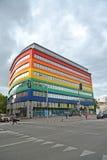 12月老波兰城镇华沙 在Yagellonskaya街上的行政购物中心在区域布拉格Pulnots 库存图片