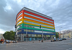 12月老波兰城镇华沙 在Yagellonskaya街上的行政购物中心 免版税库存照片