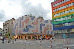 12月老波兰城镇华沙 大厦门面的装饰注册在Yagellonskaya街上的 库存图片