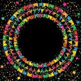 6月节日在五颜六色的背景中在晚上 免版税图库摄影