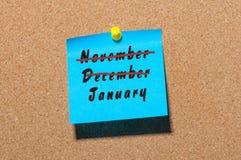 1月起点和12月, 11月结尾概念 在纸的题字被别住在布告牌 另外的背景企业格式 免版税库存图片