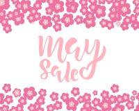 5月销售与手写的字法的飞行物模板与花 海报,卡片,标签,横幅设计 速写的明亮和时髦 皇族释放例证