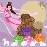 月饼月亮神仙的兔子月亮卡片 免版税库存照片