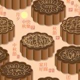 月饼棕色颜色无缝的样式 库存照片