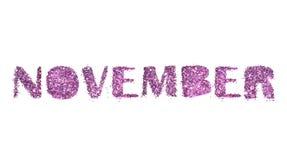 11月,在白色背景紫色闪烁隔绝的秋天月的名字 库存图片