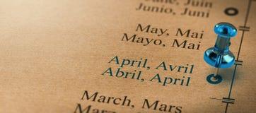 4月,年的几个月的焦点 库存例证
