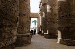 2016年1月:卡纳克神庙寺庙,卢克索,埃及古老废墟  免版税图库摄影