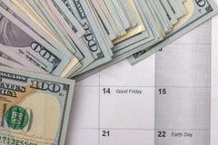 4月2017与企业日历和文件的 免版税库存图片