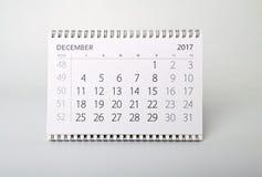 12月 年二千十七的日历 免版税库存照片