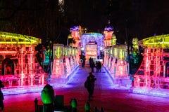2013年2月-哈尔滨,中国-冰灯节 免版税库存图片