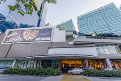 1月20,2018在前边镇购物中心,达义市市在购物的 免版税库存图片