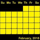 2月2018在大黑计划者的日历的黄色 免版税库存图片