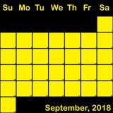 9月2018在大黑计划者的日历的黄色 库存照片