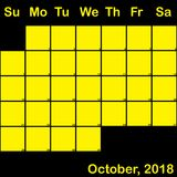10月2018在大黑计划者的日历的黄色 库存照片