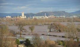 2月2014洪水在格洛斯特郡 免版税图库摄影
