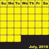 7月2018在黑计划者日历的黄色 免版税图库摄影