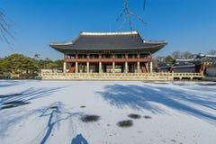12月6,2017在Gyeonghoeru的Sonwing在Gyeongbok宫殿,汉城 库存照片