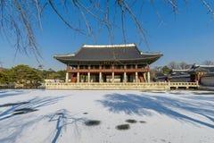 12月6,2017在Gyeonghoeru的Sonwing在Gyeongbok宫殿,汉城 免版税库存照片