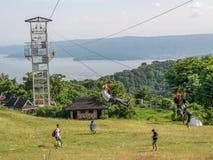 6月17,2017在Tagaytay野餐树丛, Tagaytay,菲尔的邮编线 免版税图库摄影